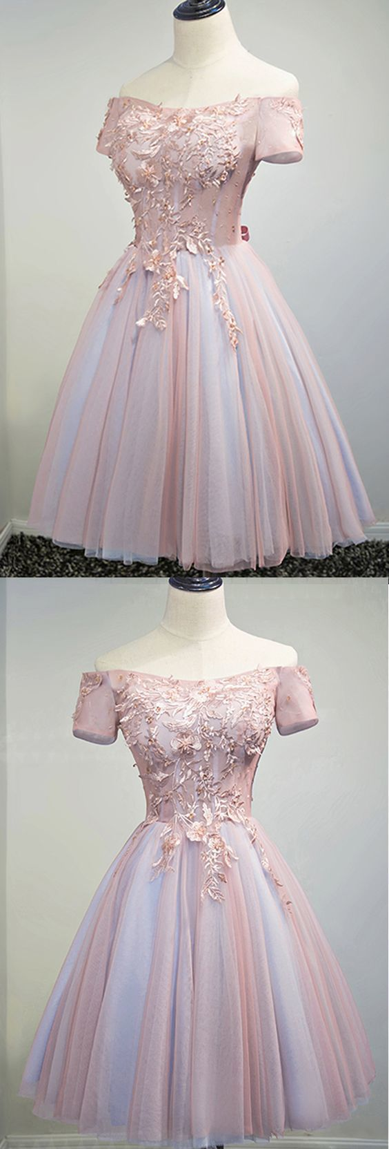 Cute tulle off shoulder prom dress short prom dress for teens in