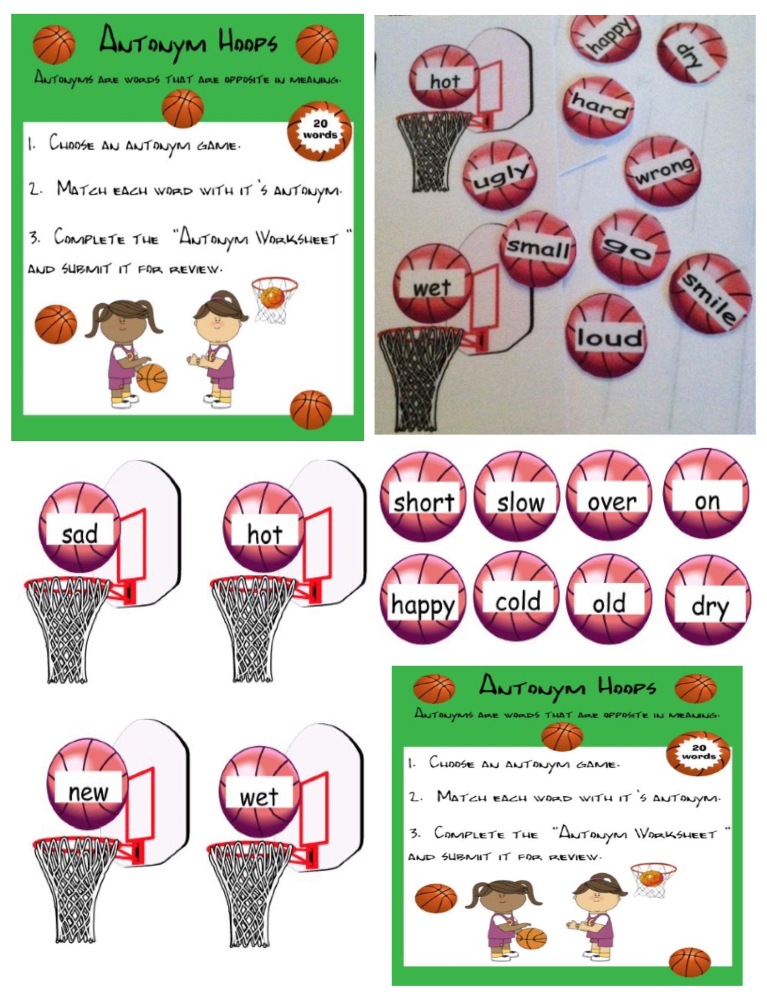 Antonym Hoops A Fun Antonym Basketball Game For Centers