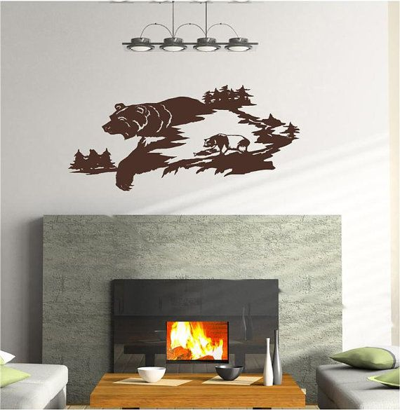 Bear Fish Man Cave Animal Rustic Cabin Lodge Mountains Hunting Vinyl Wall Art Sticker Decal
