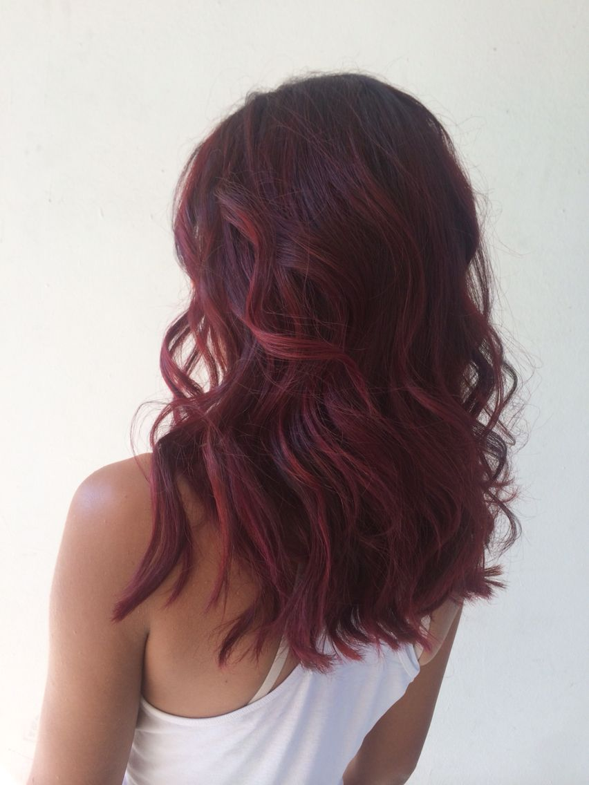Violet Red Hair Balayage Melt Berry Hair Red Violet