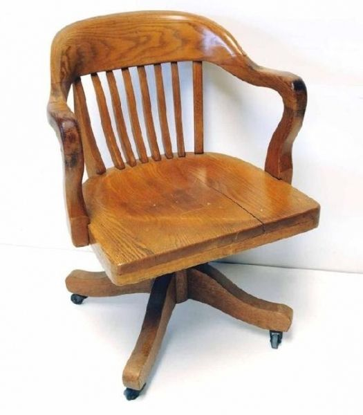 Antique Oak Swivel Desk Chair Old Solid Wood 16 W