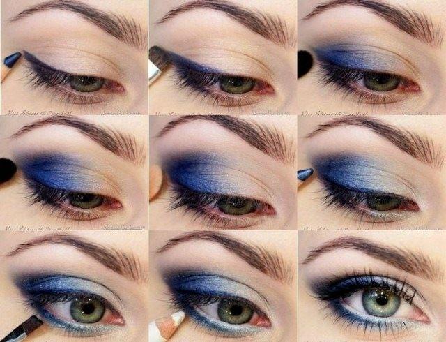 Blaue Augen schminken - Eine weitere Variante mit blauem Lidschatten
