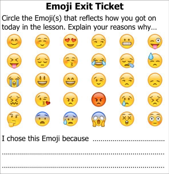 Title: Exit Ticket Emoji Description: End Of Lesson Task To Allow