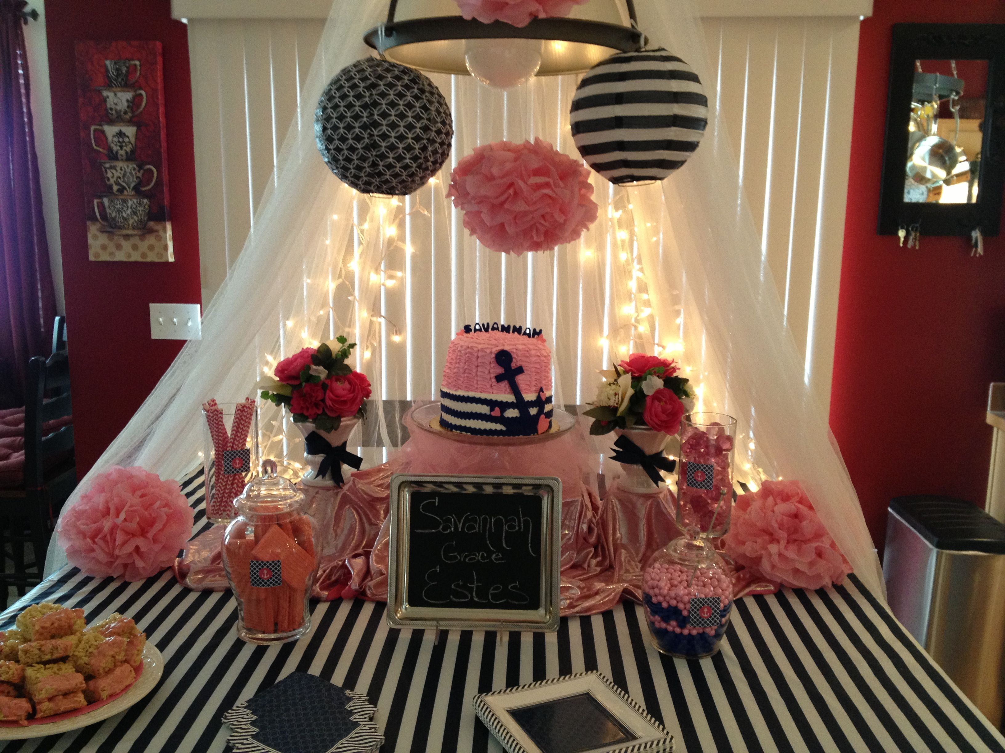 Navy blue & pink baby shower Baby decor Pinterest