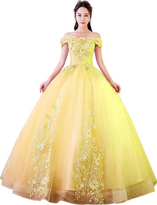 31469fc172b7b Okaybrial Women s Sweet 16 Quinceanera Dresses Yellow Off Shoulder Lace  Long Prom Ball Gowns Size 22 at Amazon Women s Clothing store