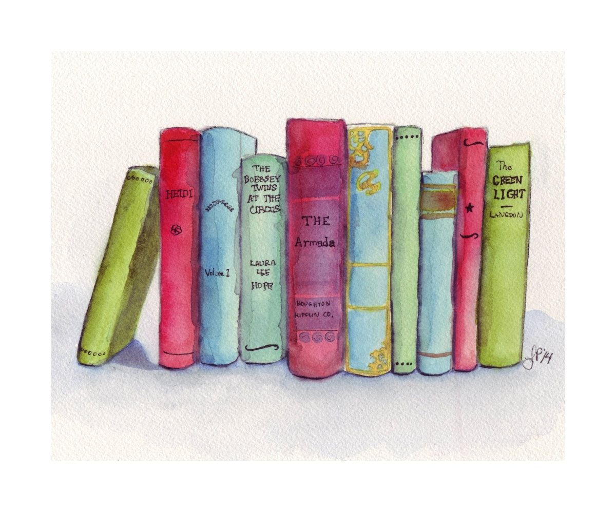Books Watercolor Painting Print Stack Of Books By Jojolarue