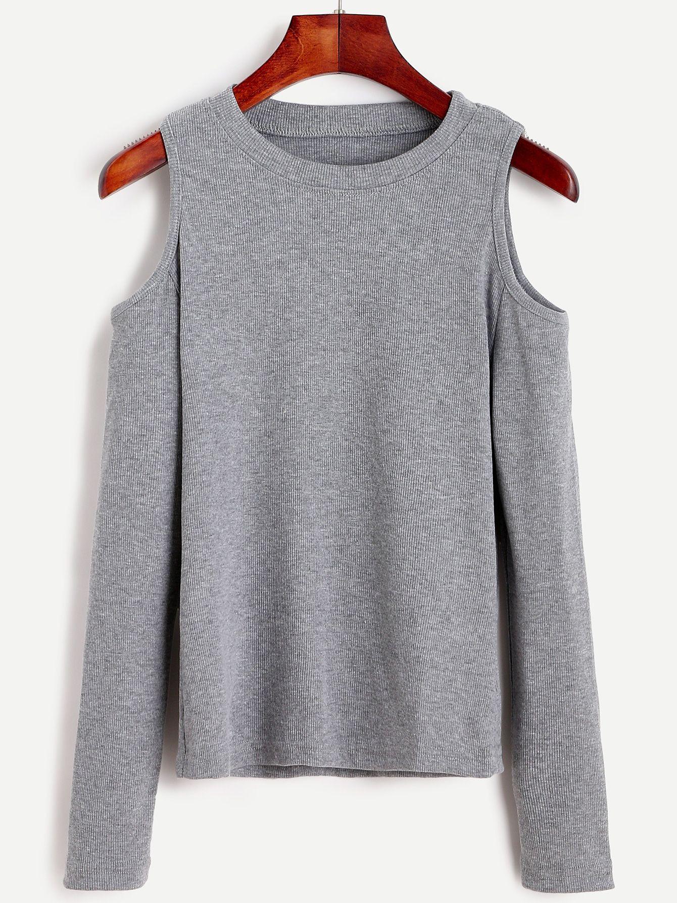 Open Shoulder Knit T-shirt | Colour gray, Shoulder and Gray