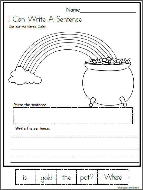Pot of gold mixed up sentence worksheet