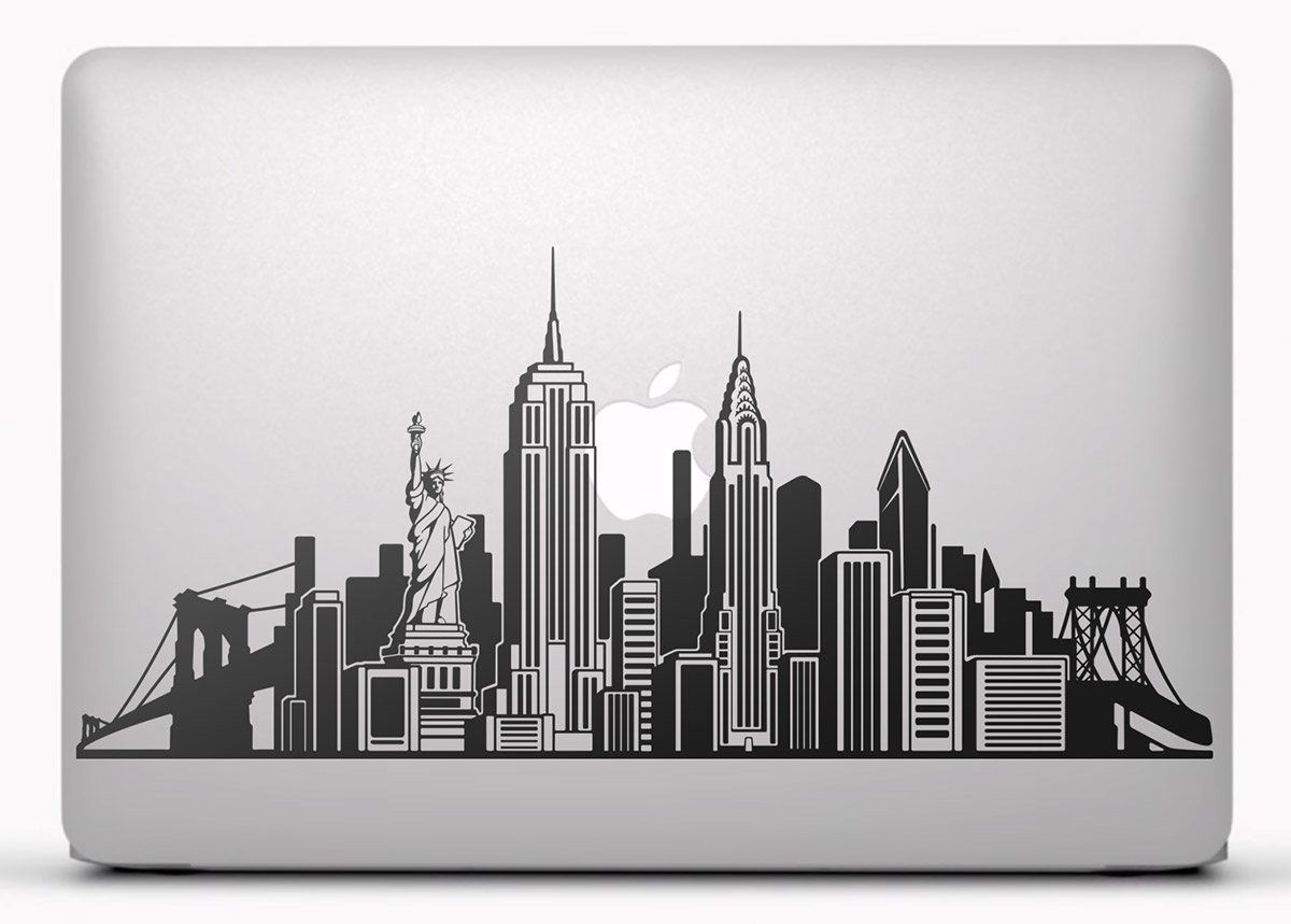 Pegatinas Skyline De Nueva York Vinilo Pegatina Adhesivo Para Portatil Mac O Macbook Vin Silueta De Edificios Dibujos De Edificios Tatuaje De Nueva York