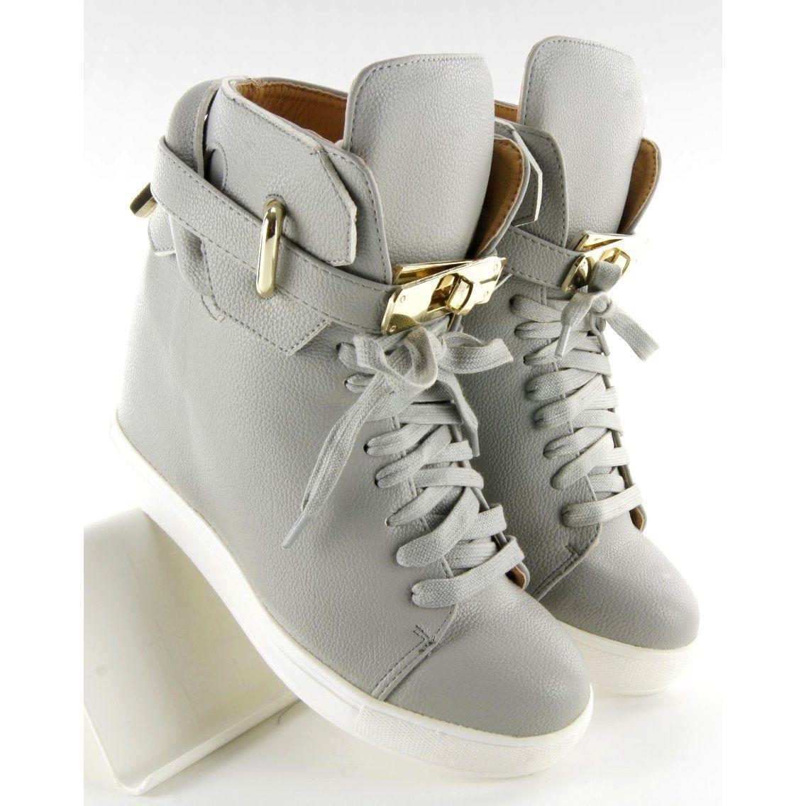 Sportowe Damskie Obuwiedamskie Szare Sneakersy Z Klodka 6059 Grey Ii Gat Obuwie Damskie Wedge Sneaker Shoes Sneakers