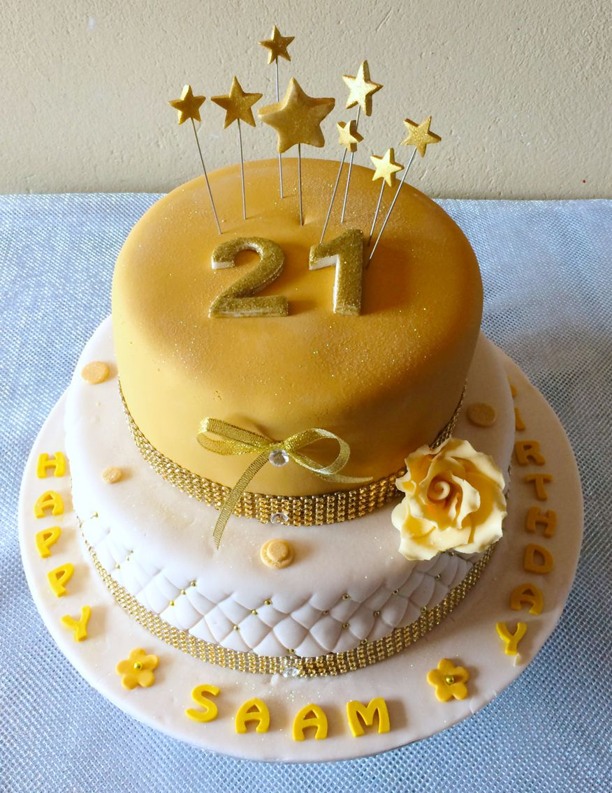 21st birthday cake gold and cream | ShongaEvents | Pinterest | 21st ...
