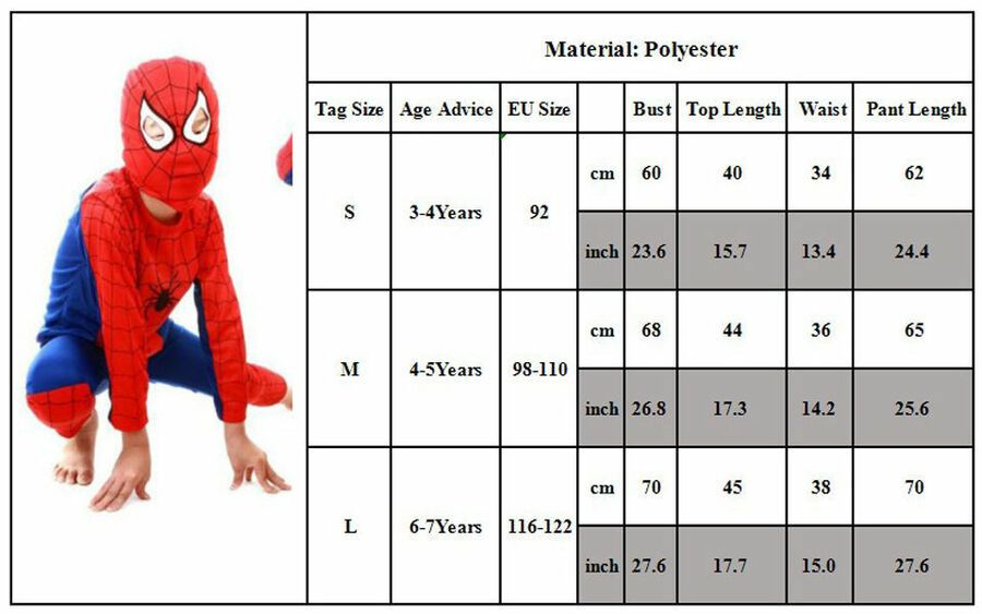 Boys Kids Superhero Fancy Dress Spiderman Party Costume Clothes Outfits 3Pcs