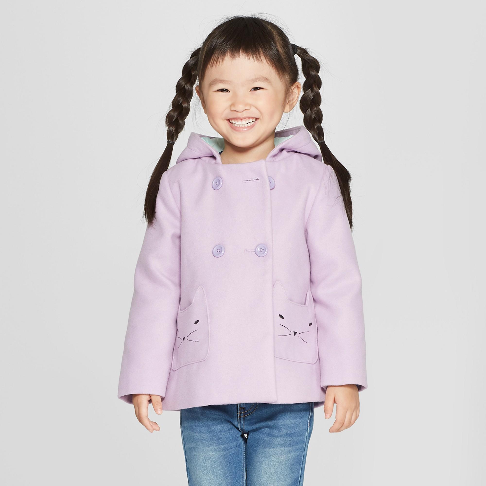 323551994 Toddler Girls' Faux Wool Cat Overcoat - Cat & Jack Purple 18M ...