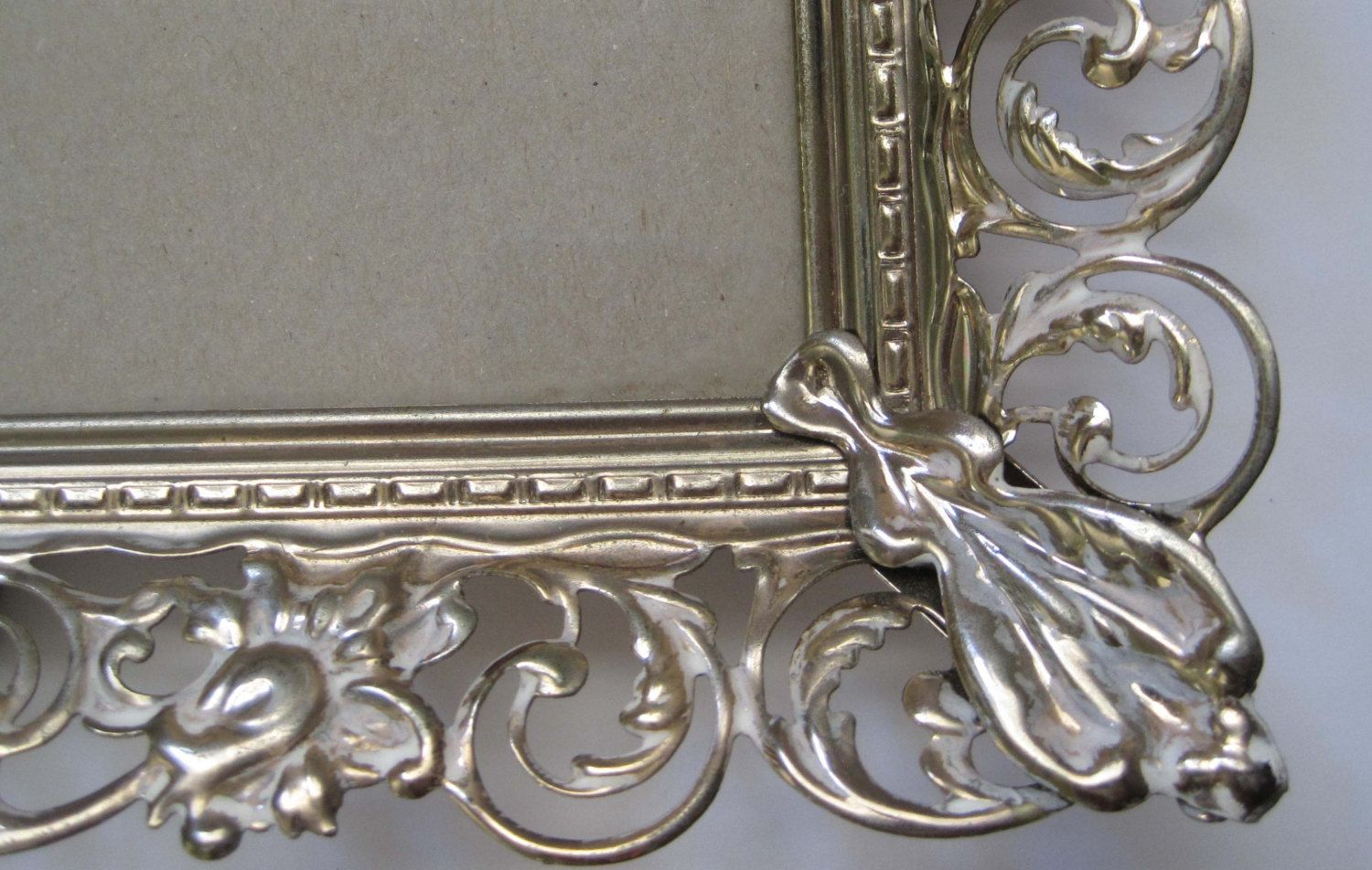 Vintage Gold Metal Frame, Filigree Flowers, Whitewashed, 5 x 7 ...