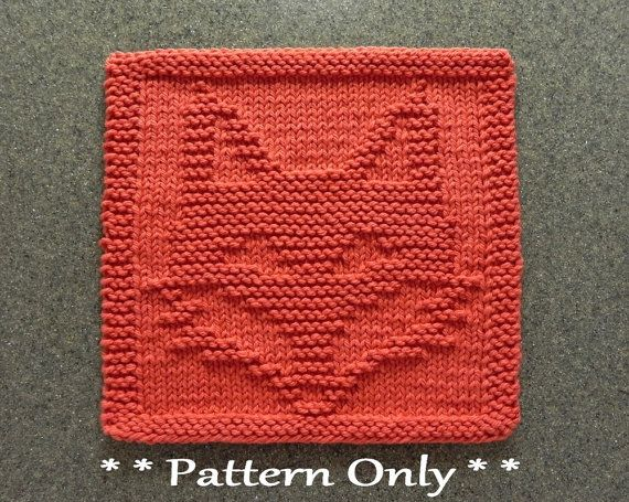 Fox Knit Pattern For Dishcloth Or Wash Cloth Quilt Block For Baby