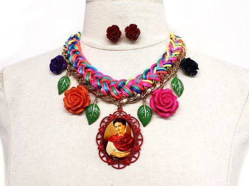 Frida Kahlo Multi Color Code Braided Chain Necklace + Earrings Set with Roses