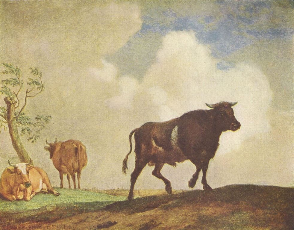 Landschaftsmalerei barock  Paulus Potter. Stier und Kühe. Um 1650, Eichenholz. Berlin ...