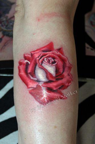White And Red Rose Tattoo By Mirek Vel Stotker Roses Pinterest