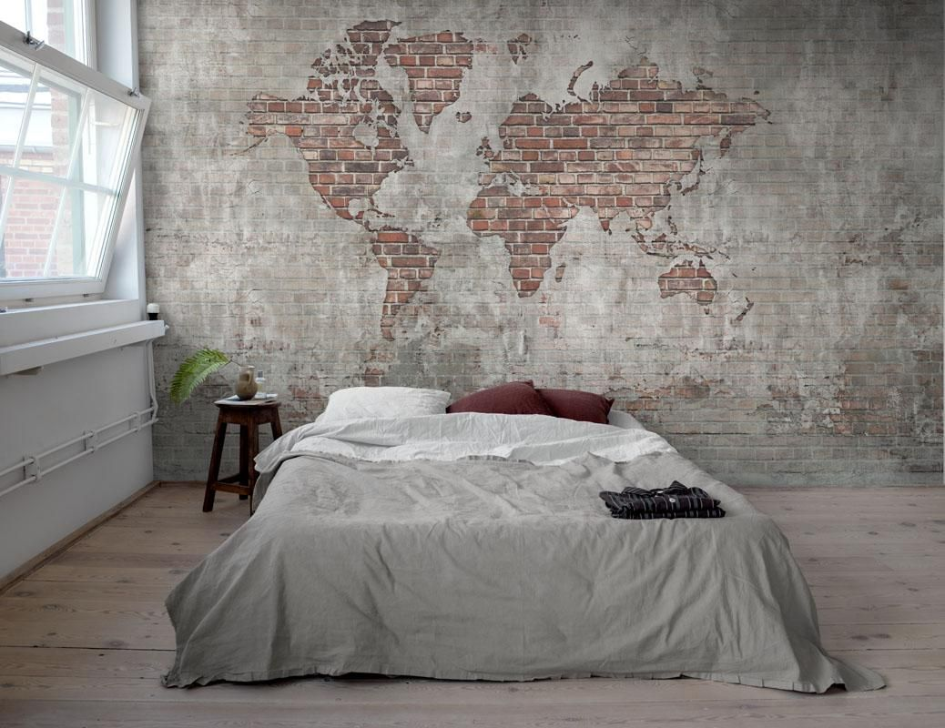 Brick Wall World Map High quality wallpaper [Mr Perswall