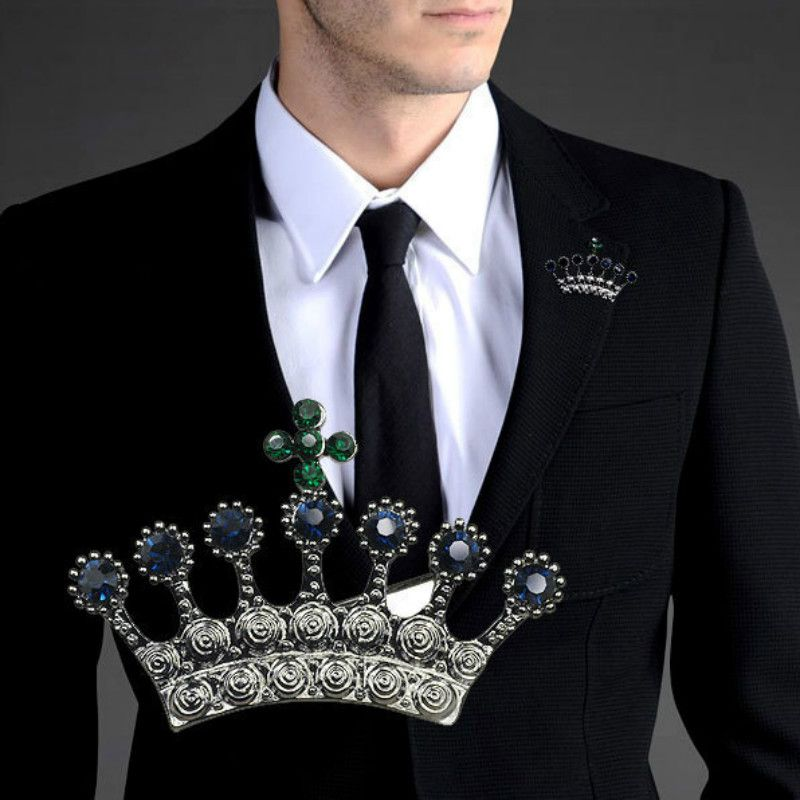 Crown Brooch Men Suit Brooches Vintage Homme Elegant Casamento ...