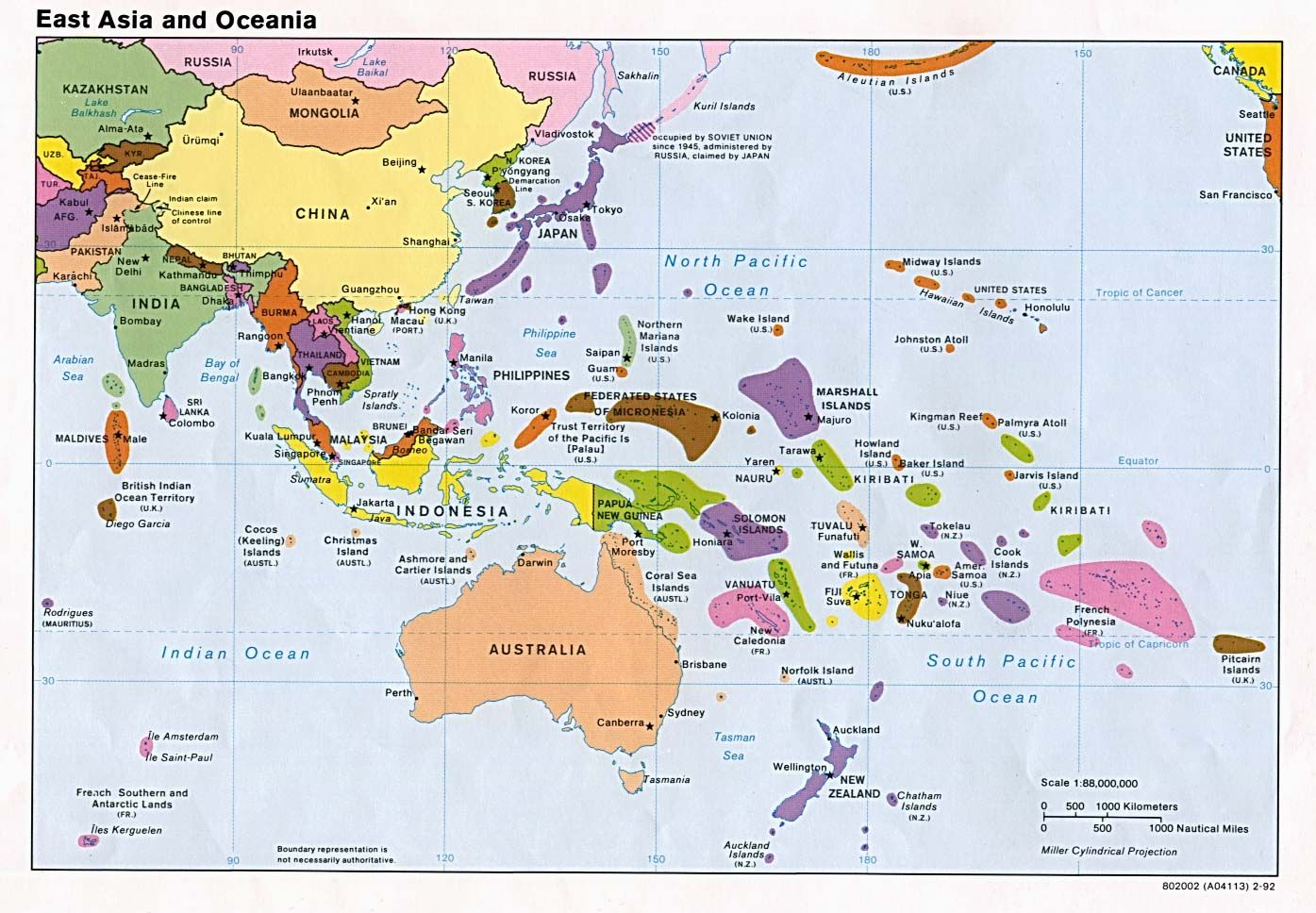 Oceania consists of Australia Fiji Kiribati Marshall Islands