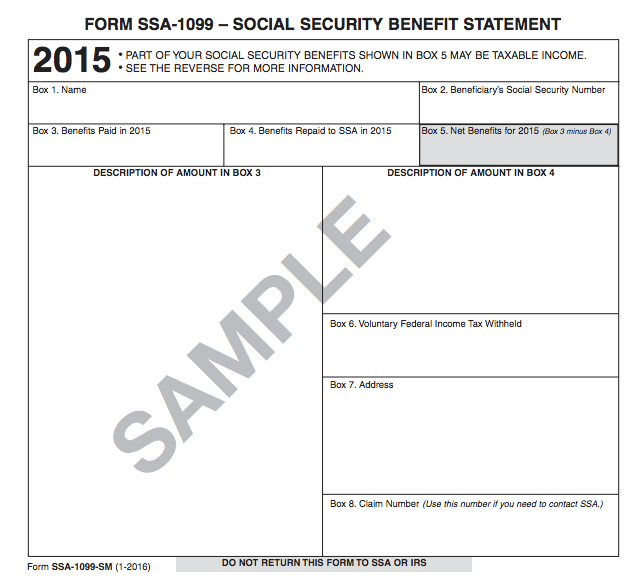 Understanding Your Tax Forms 2016 Ssa 1099 Social Security Benefits Tax Forms Social Security Benefits Social