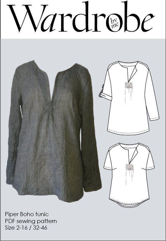 Boho tunic pattern, Sewing patterns tunic PDF pattern for women Tunic PDF sewing pattern for women Womens tunic sewing pattern