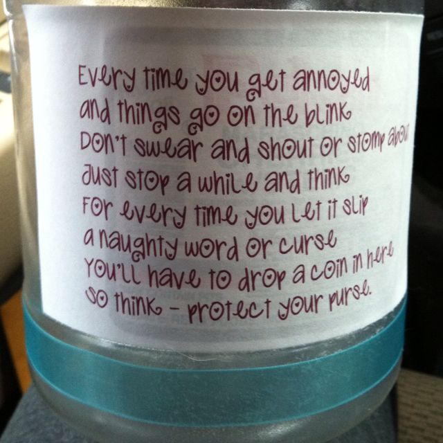 Instead Of A Swear Jar Specify It To Every Time A Student Is Negative Towards Self Swear Jar Coin Jar Jar Diy