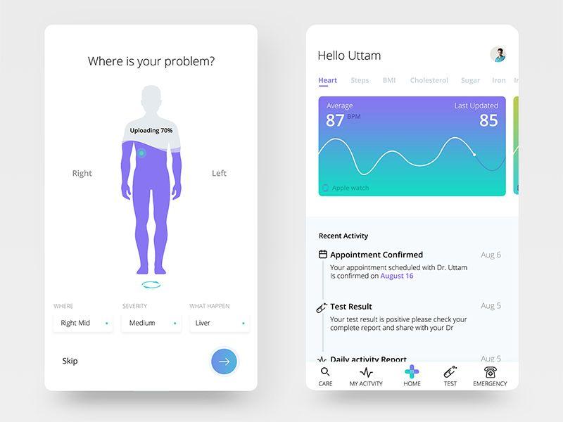 Fitness App Diseño de interfaz, Disenos de unas y Cuidame