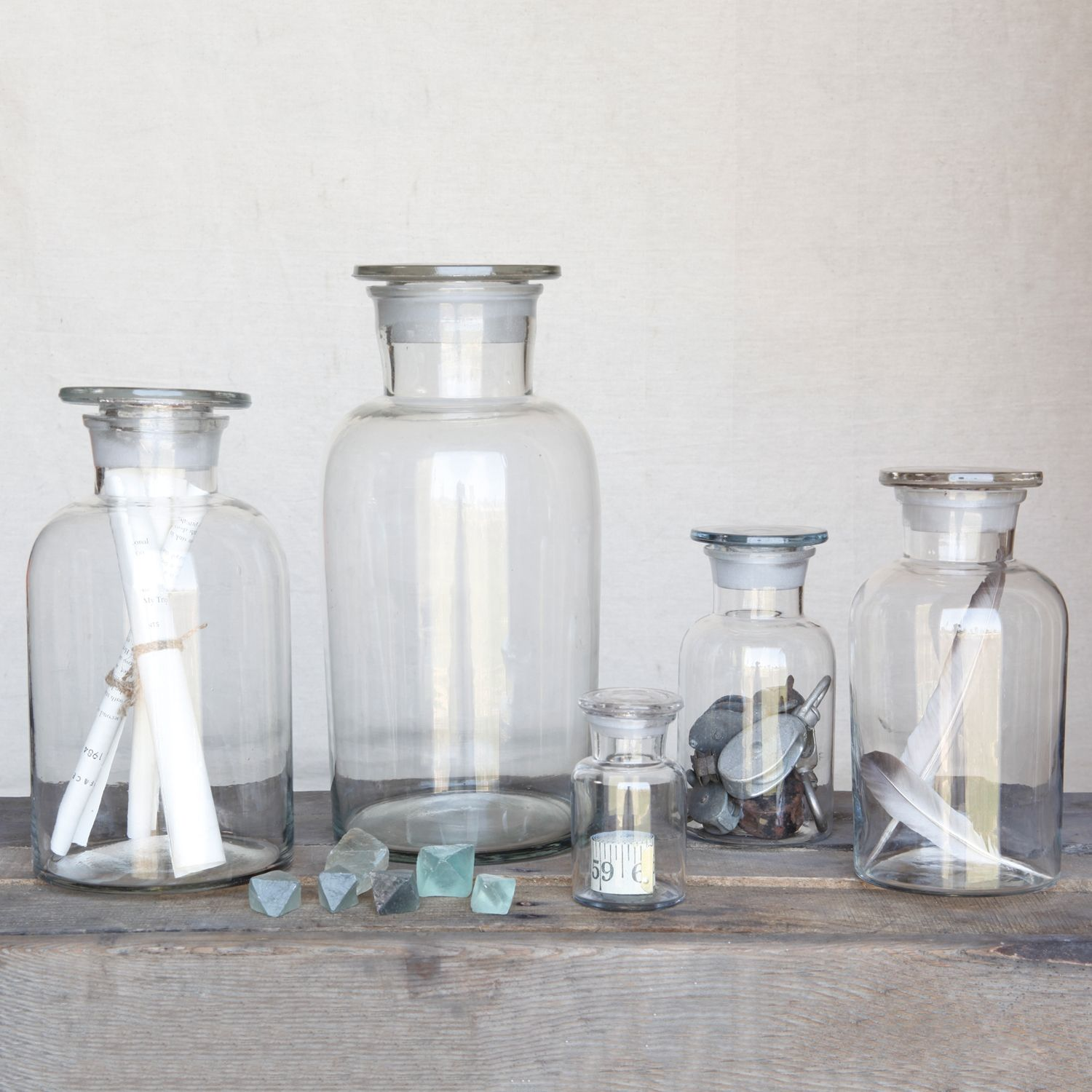 Clear Pharmacy Jars with Stoppers by HomArt | Shelf desk, Glass ...