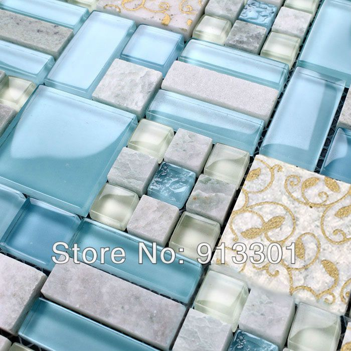 Crystal glass tile sheets iridescent stone pattern mosaic walls ...