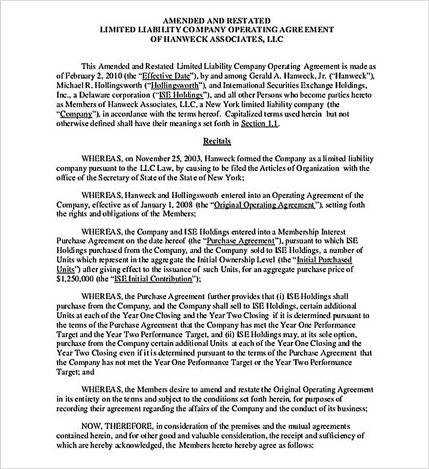 Simple Llc Operating Agreement Template 11 Operating Agreement Template For A Secure Company Management Operating Agr Agreement Templates Contract Template