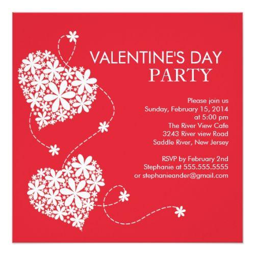 Daisy Hearts ValentinesS Day Party Invitations  Valentine Day