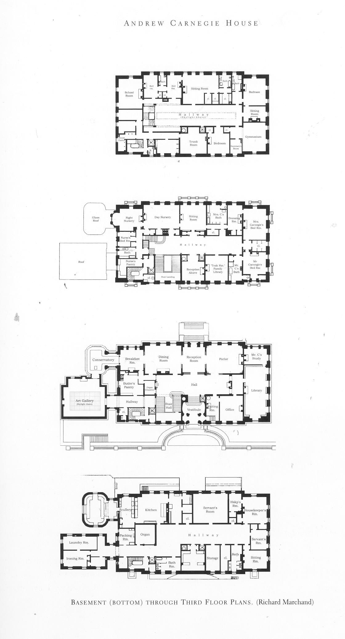 Andrew Carnegie Mansion Mansion Floor Plan Mansion Plans Architectural Floor Plans