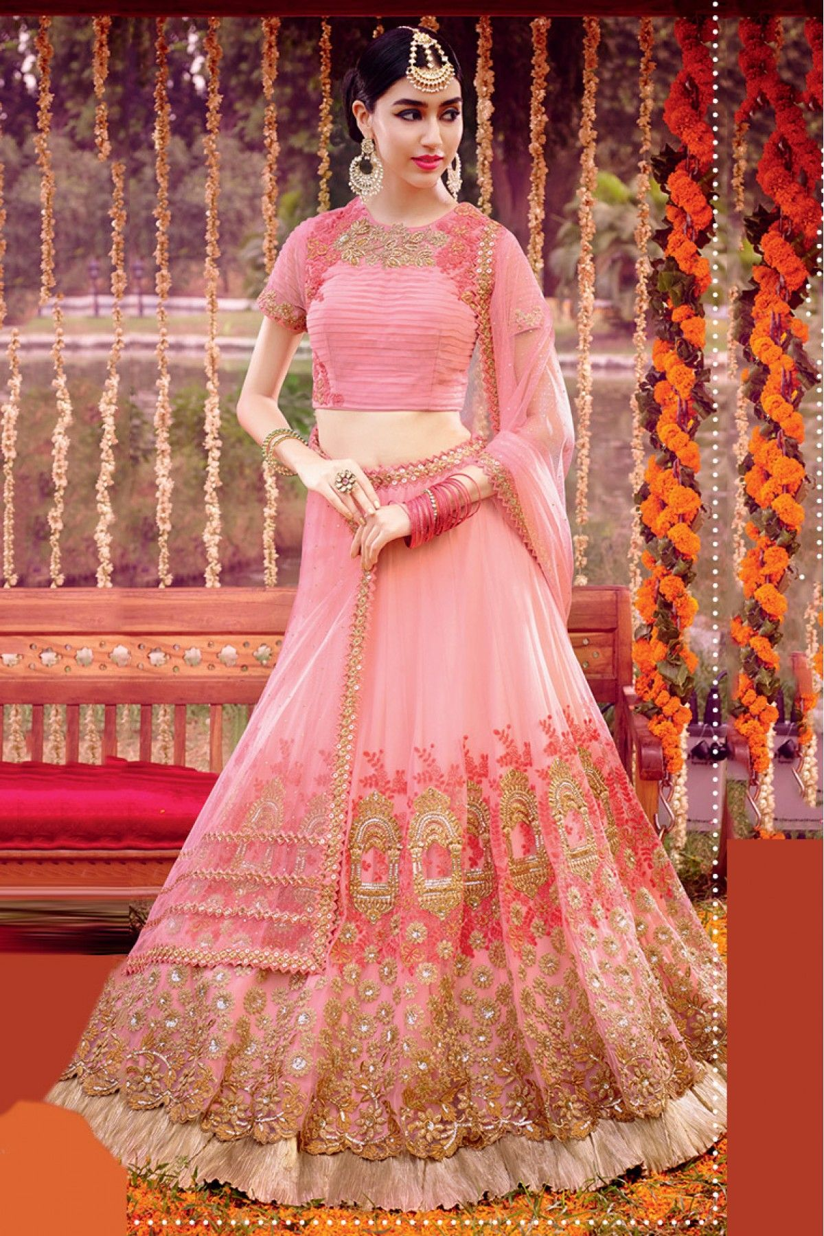 d5a123bc26 Online Shopping In India. Net Semi Stitched Lehenga Choli In Baby Pink  Colour