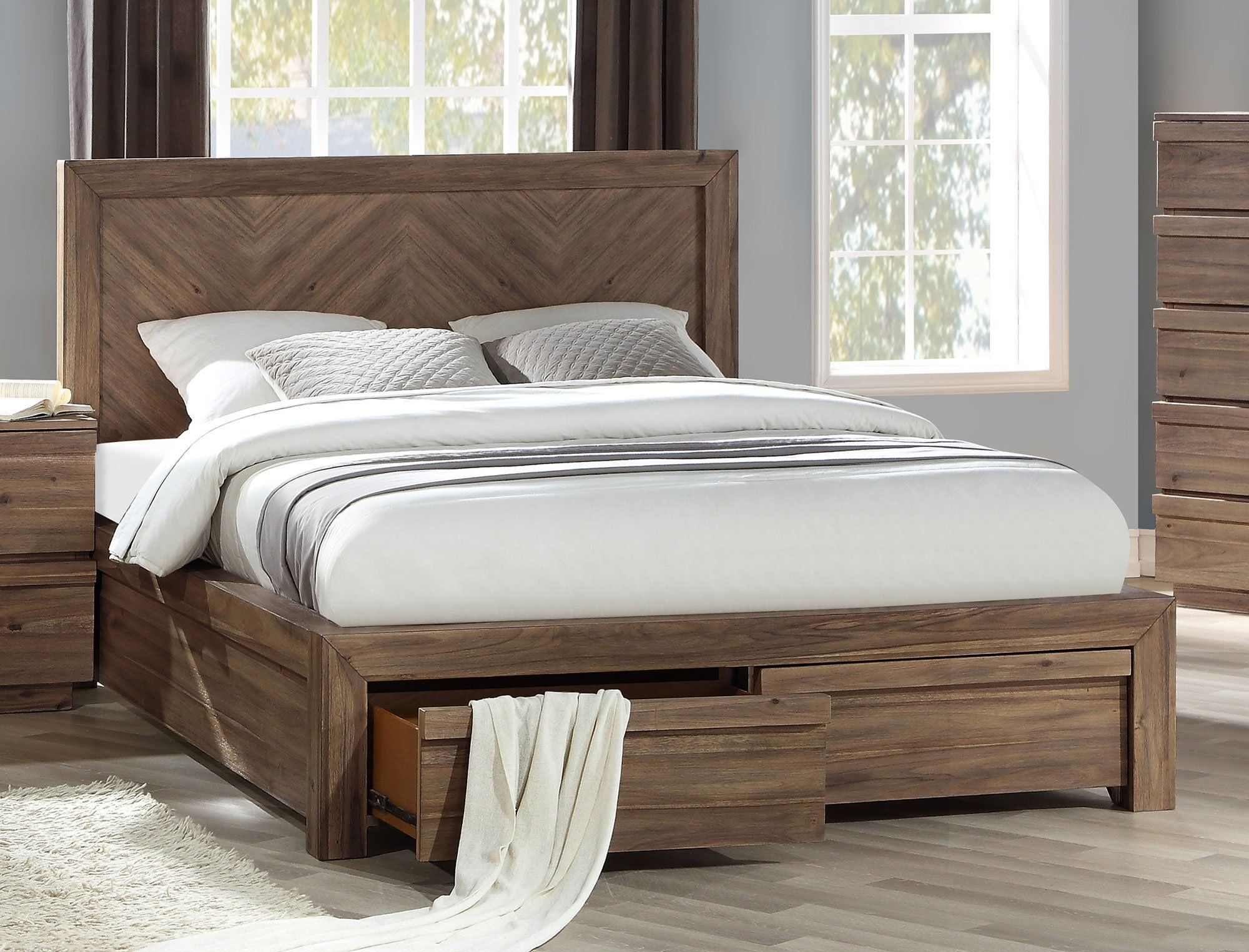 Modern Natural Acacia Queen Storage Bed Hayden King Storage
