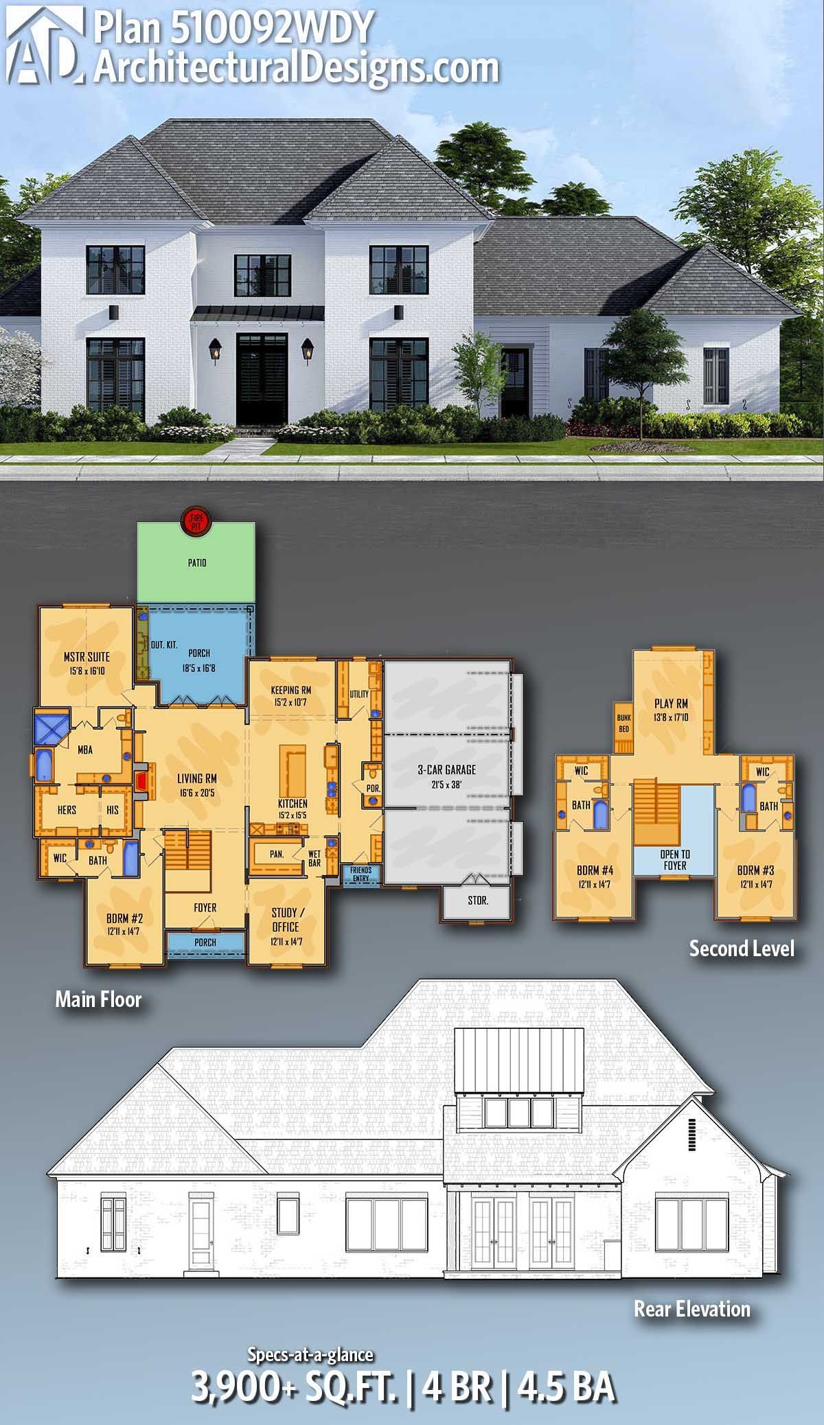 Plan 510092wdy Two Story Southern House Plan With Home Office Southern House Plan Southern House Plans House Plans