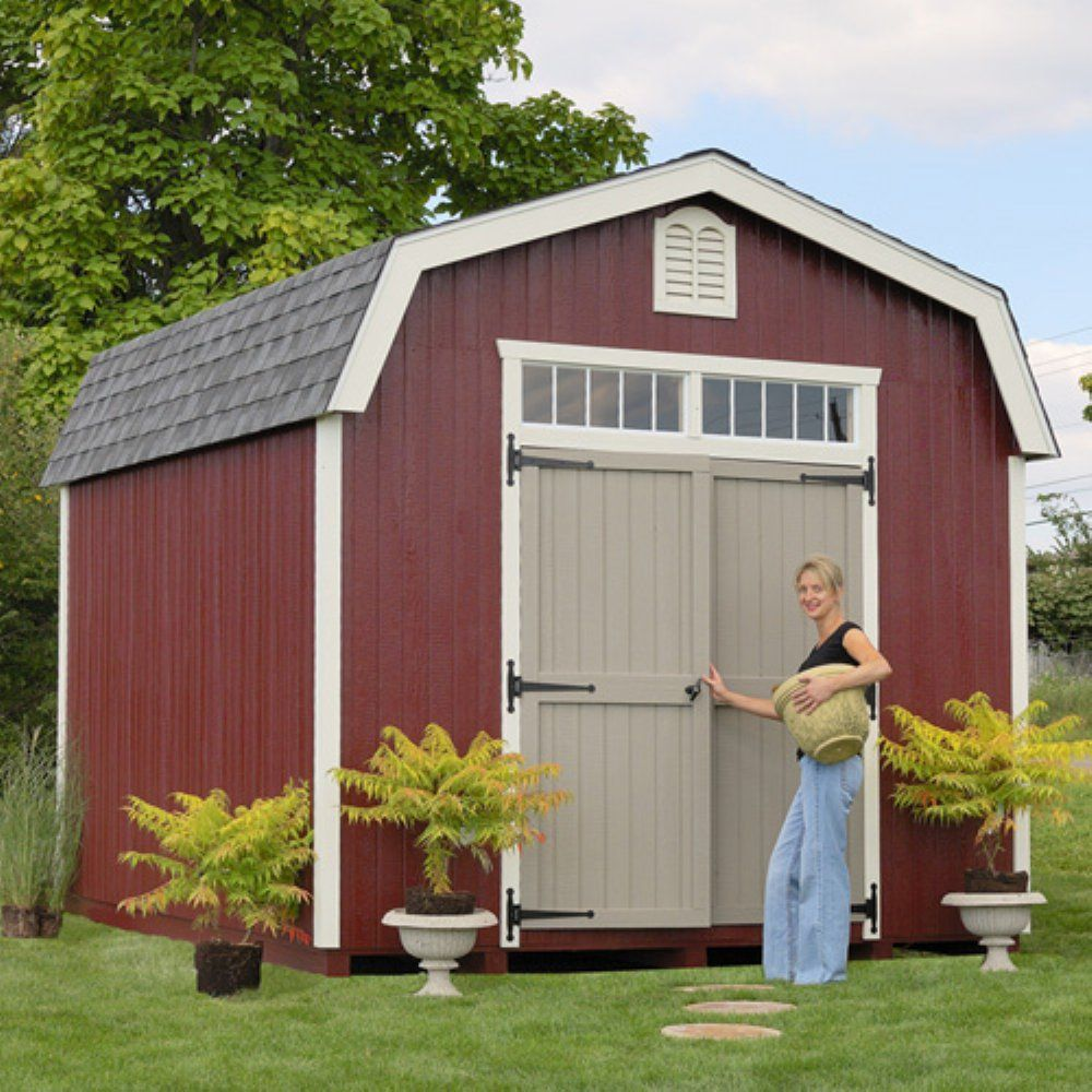 Little Cottage 10 x 20 ft. Woodbury Colonial Panelized Storage Shed - Additional Features Double doors make entry and exit easy Door handle latch locks Features custom crafted louvers Trim and siding are...