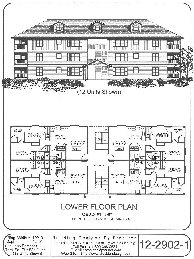 12 plex apartment house plan ideas pinterest for Apartment building plans 6 units