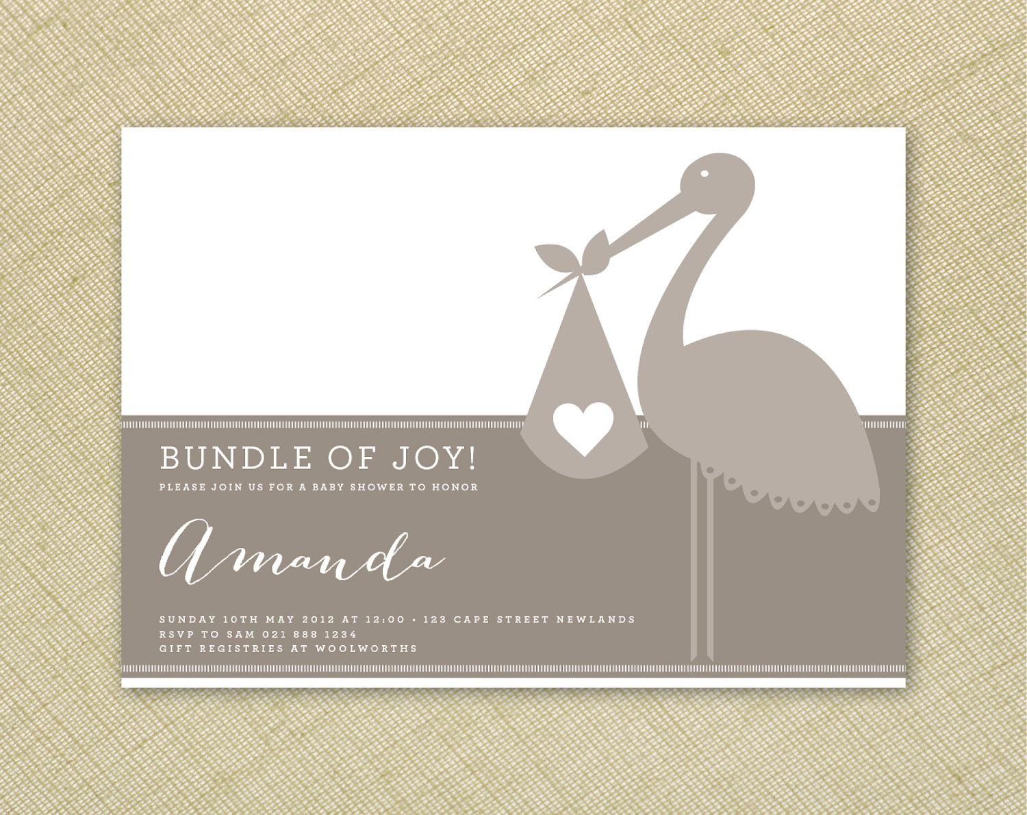 bridal shower invitation quote ideas%0A Baby Shower Invitation Grey Boy or Girl Neutral Hearts and Stork   Printable Designs