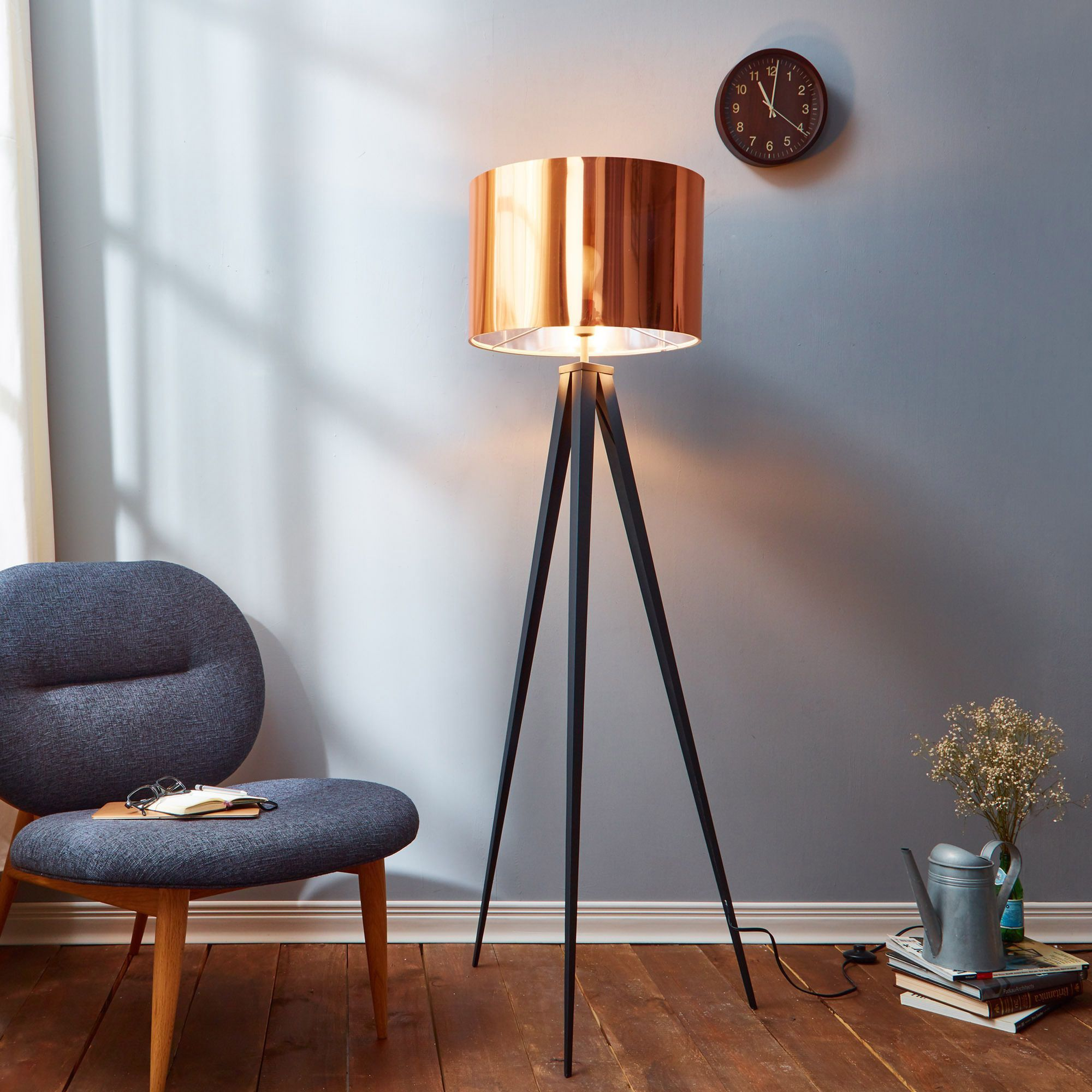Threshold torchiere floor lamp textured bronze 65 - Teamson Versanora Romanza Tripod Floor Lamp With Copper Shade Romanza 60 23 Tripod Floor Lamp Copper