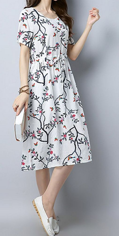 New Women loose fit retro red flower white dress tunic casual ...