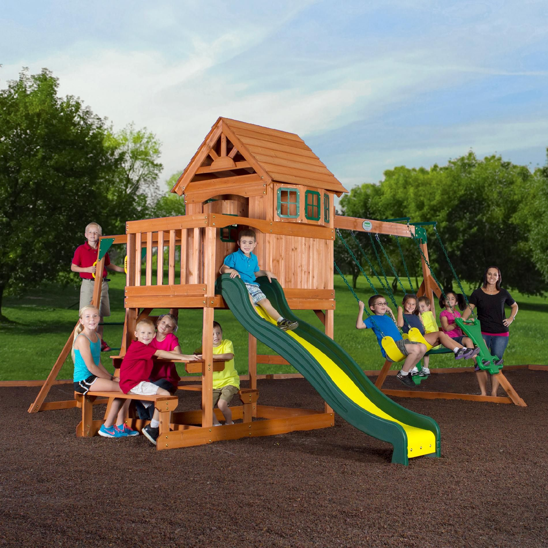 Wood Clubhouse Swing Set Get Your Kids Moving With Kmart Swing Set Backyard Toys Wooden Playset
