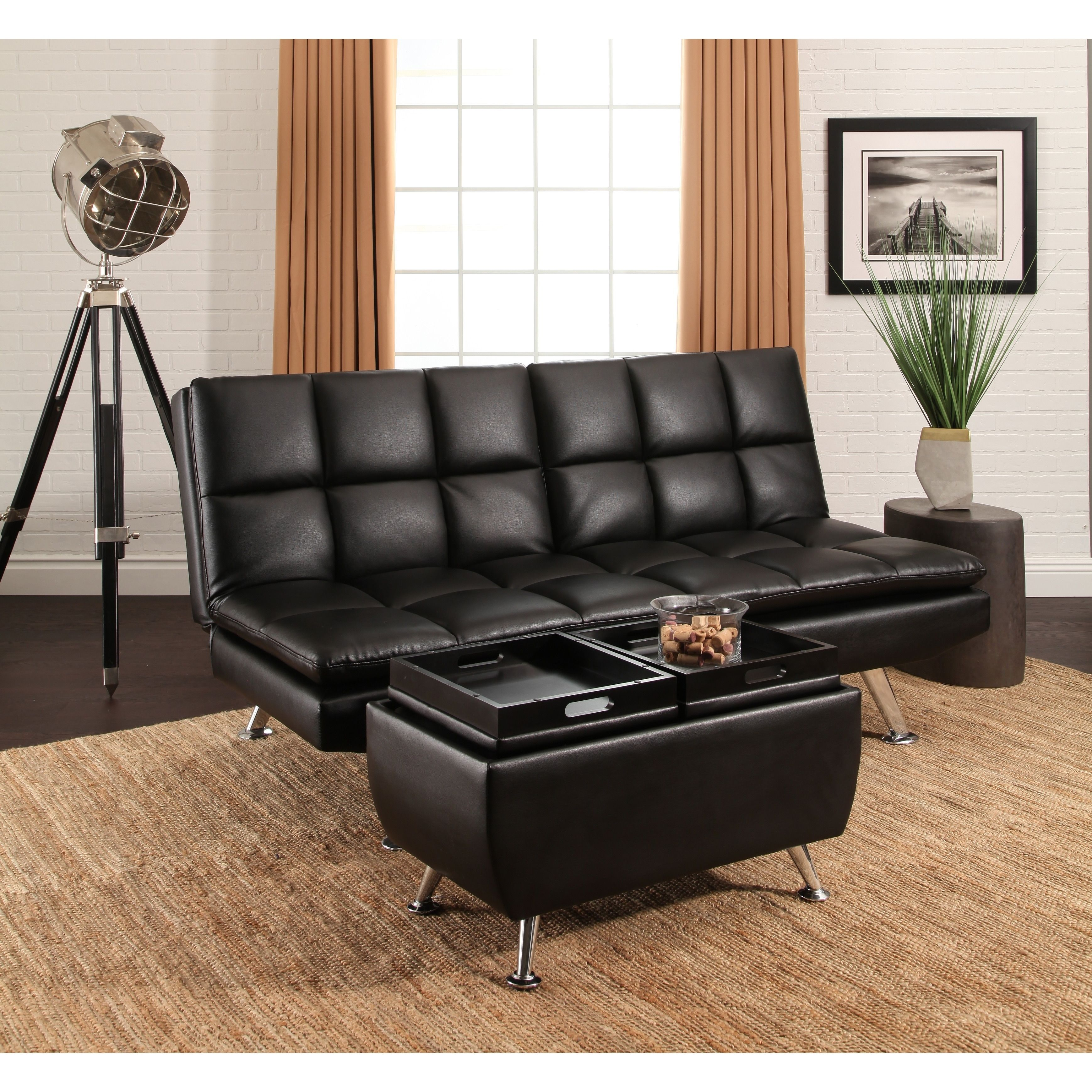 Incredible Abbyson Brandon Black Bonded Leather Sofa Bed And Ottoman Machost Co Dining Chair Design Ideas Machostcouk
