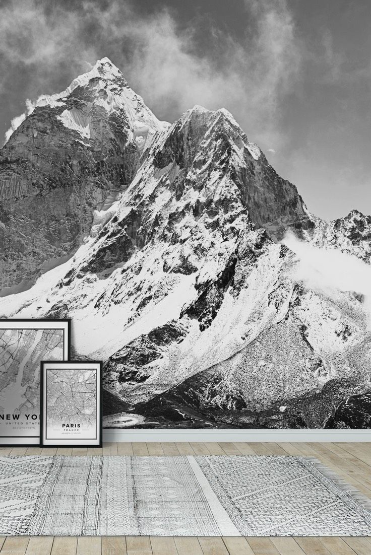 Black And White Mountains Wall Mural In 2020 Mountain Mural