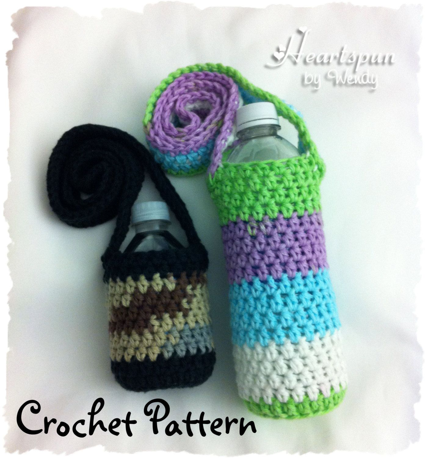 Crochet pattern to make a changing colors water bottle holder crochet pattern to make a changing colors water bottle holder drink carrier in 2 sizes bankloansurffo Choice Image