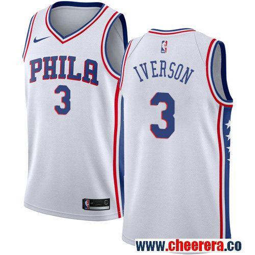 b2043c51f Philadelphia 76ers #3 Allen Iverson White Nike NBA Men's Stitched Jersey