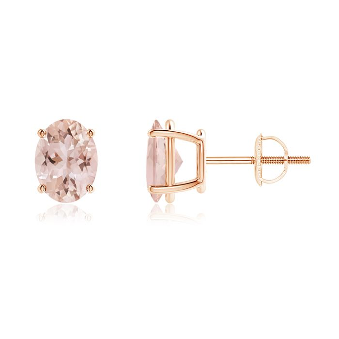 Angara Classic Basket-Set Cushion Morganite Stud Earrings m95WSCl