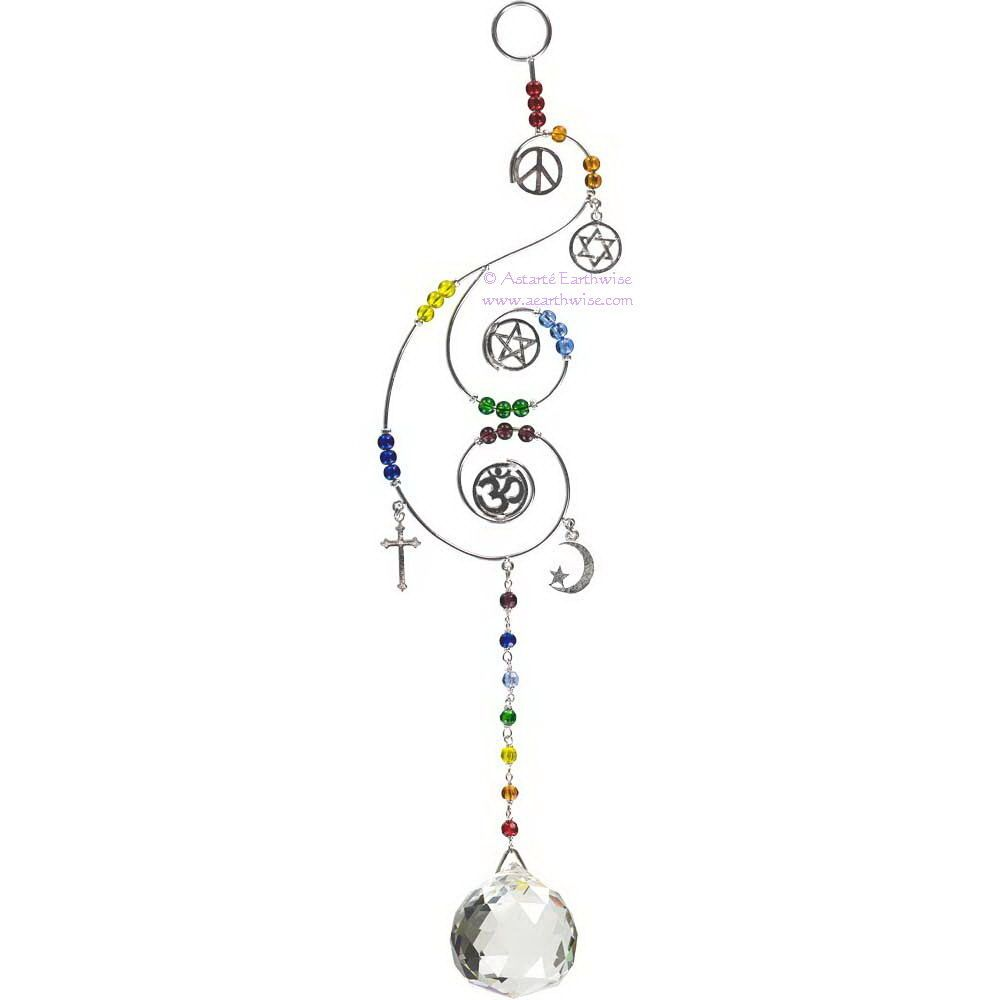 MULTIFAITH WIRE HANGING CRYSTAL Wicca Witch Pagan Goth SUNCATCHER ...