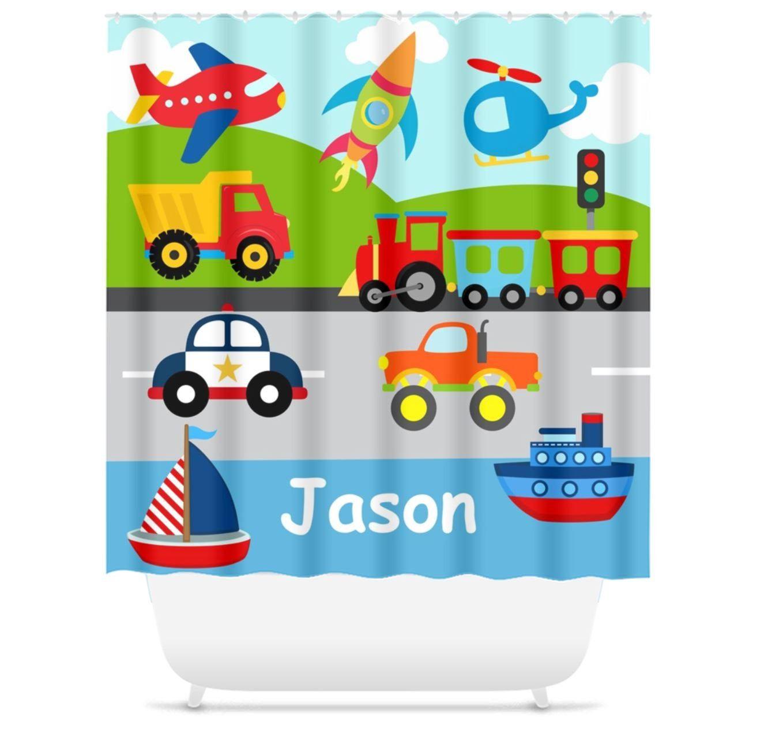 Transportation Shower Curtain Bath Mat Kids Bathroom Girl Boy